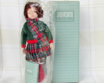 """Avon Childhood Dreams Porcelain Doll Collection """"Skating Party"""" 1991 in Original Box."""