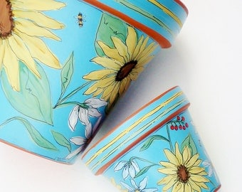"Flower Pot Hand Painted 8 Inch Sunflower Decor ""Morning Sun""  Made to Order"