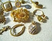 Destash Gold Tone Vintage Jewelry Sarah Coventry Earrings 15 Piece Lot Brooch Single Earrings