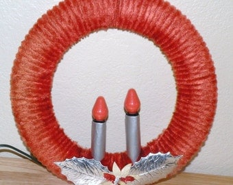 Vintage Chenille Wreath with Two Candles
