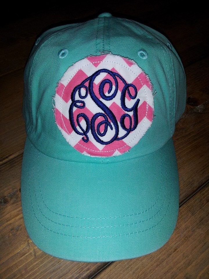 preppy monogrammed baseball cap hat bridesmaid sorority