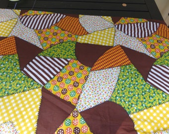 One Yard Faux Quilted  Cotton Fabric in Browns and Yellows and Yellows