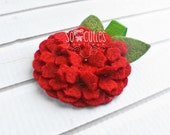 Red Hydrangea Felt Headband or Felt Hair Clip Felt Flower Headband, newborn headband, baby headband, girl headband.