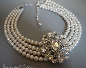 Statement Pearl Necklace with Brooch in Rhinestone 4 multi strands Swarovski Pearls Bridal jewelry sets