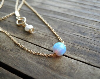 Opal Jewelry, Opal Necklace, Tiny One 4mm Opal Necklace, Bridesmaid gift, Delicate Gold filled Necklace Silver Necklace, Minimalist Pendant