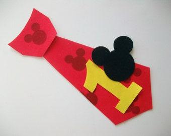 DIY No-Sew Boys Mickey Number Tie Fabric Applique - Iron On