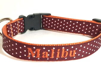 Personalized - Dog Collar in Virginia Tech colors