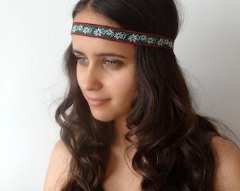 Floral Hippie Headband, Boho Headband, Hippie Flower Headband, Daisy Headband, Forehead, Green, Indie Headband