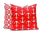 Pillows, Red Pillows, Red Anchors Pillow, Decorative Throw Pillow Cover, Cushion, Various Sizes, Nautical Decor, Beach Decor