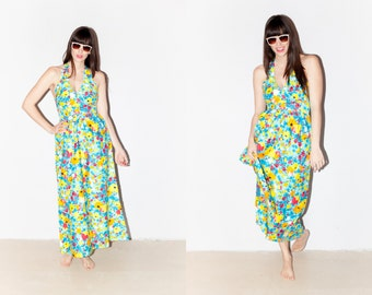 Vibrant Blue 1970s Floral Halter Top Maxi Dress Spring Summer S/M