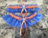 University of Florida Gators ROYAL lace Wedding Garter set any size, tipe or color.