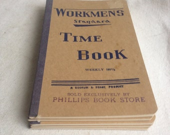 vintage workmans time book wages book time clock book ephemera book