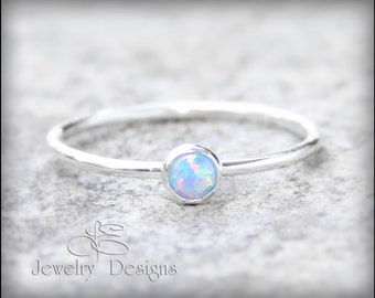 OPAL STACKING RING-  blue opal - 1 ring - opal stacking ring - gemstone stacking ring - stacking rings, stackable rings, stacked ring