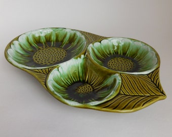 Vintage California Pottery Green Sunflower Serving Bowl