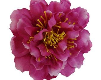 Purple Peony flower Hair Clip 4.50 Inch.