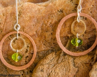 Circle in Circle Copper and Brass Earrings