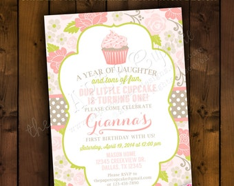 Printable Invitation Design - Blooming Cupcake Garden Party Collection - DIY Printables by The Paper Cupcake