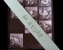 "Dark Haired Nude Woman Explicit Sexual SIXTIES Nude Contact Sheet  Erotic Photos 8 1/2""  x 11"" Sex Sexual"