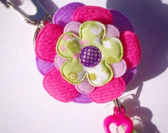 Badge Reel Accessory Padded Felt Flower Retractable ID Name Tag, Unique Gifts, Medical Accessories, Nurse Gift Ideas, Work Accessory Gifts