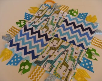 Blue Giraffes and Chevron Ribbon Sensory READY TO SHIP