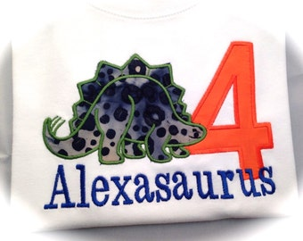 Dinosaur  Applique for Boys or Girls Shirt with Name and Number or Letter or just Name