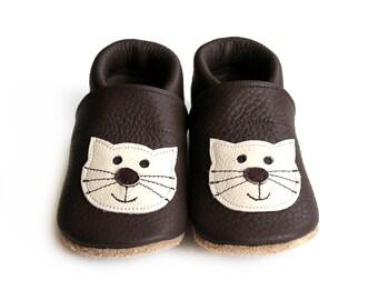Leather Baby Booties, Baby Shoes, Cat Kitten Infant Newborn Nursery Children Brown Beige