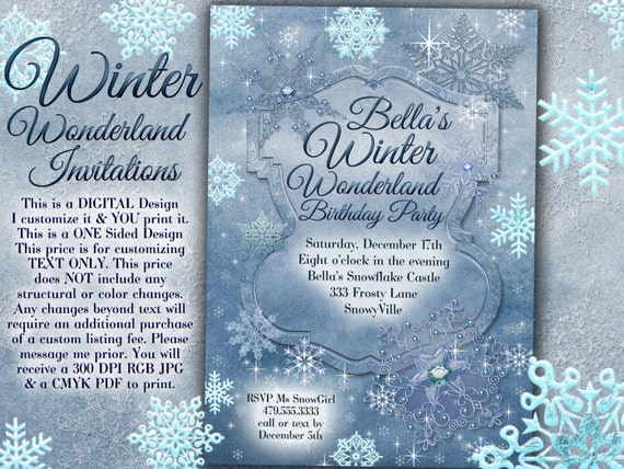 winter wonderland party winter snowflake invitation winter, Party invitations