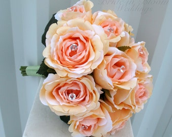 Bridal  bouquet, Peach rose bridesmaid bouquet, Bling bouquet