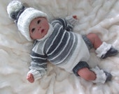 "Knitting pattern for this lovely outfit to fit 18-22"" reborn or 0-3 month baby PDF"