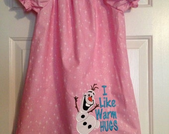 Snowman Dres | Pink Dress | Olaf Dress | Peasant Dress | Toddlers Dress | Youth Dress | Short Sleeve Dress |