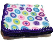 Polka Dots Fleece Throw Blanket in Blue, Green, Pink, Purple with Purple Crochet Edge