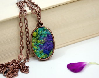 Purple Pendant Blue Pendant Green Oval Pendant Mothers Day Gift