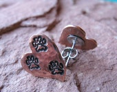 Tripawd 3-Paw Metal Stamped Post Earrings in Copper