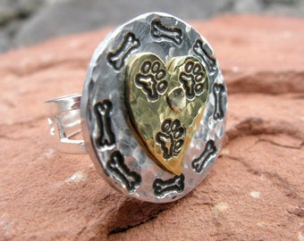 I Love My Tripawd Adjustable Ring in Brass & Silver Aluminum