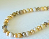 Natural Ocean Jasper Bracelet with Sand Brown Pearls Sized Large for Plus Size Women