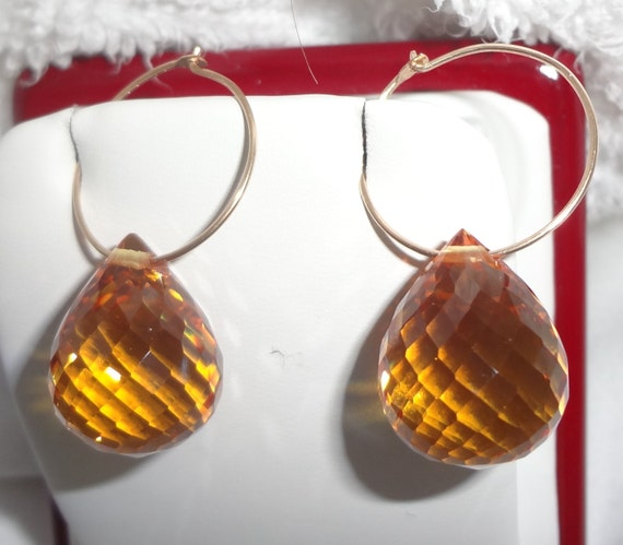 48 cts Natural Briolette cut yellow golden Quartz gemstones,  14kt yellow gold hoop Pierced Earrings