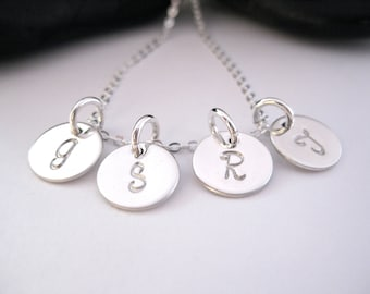 Initials Necklace, Hand Stamped Jewelry, Four Charms, Personalized Mothers Necklace, Sterling Silver, Mother Jewelry, Four Initials