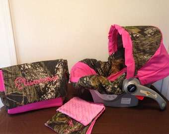 3 Piece Set MOSSY OAK CAMO fabric infant Car Seat Cover with Canopy and Diaper Bag  & Huggy Blanket with Free Monogram