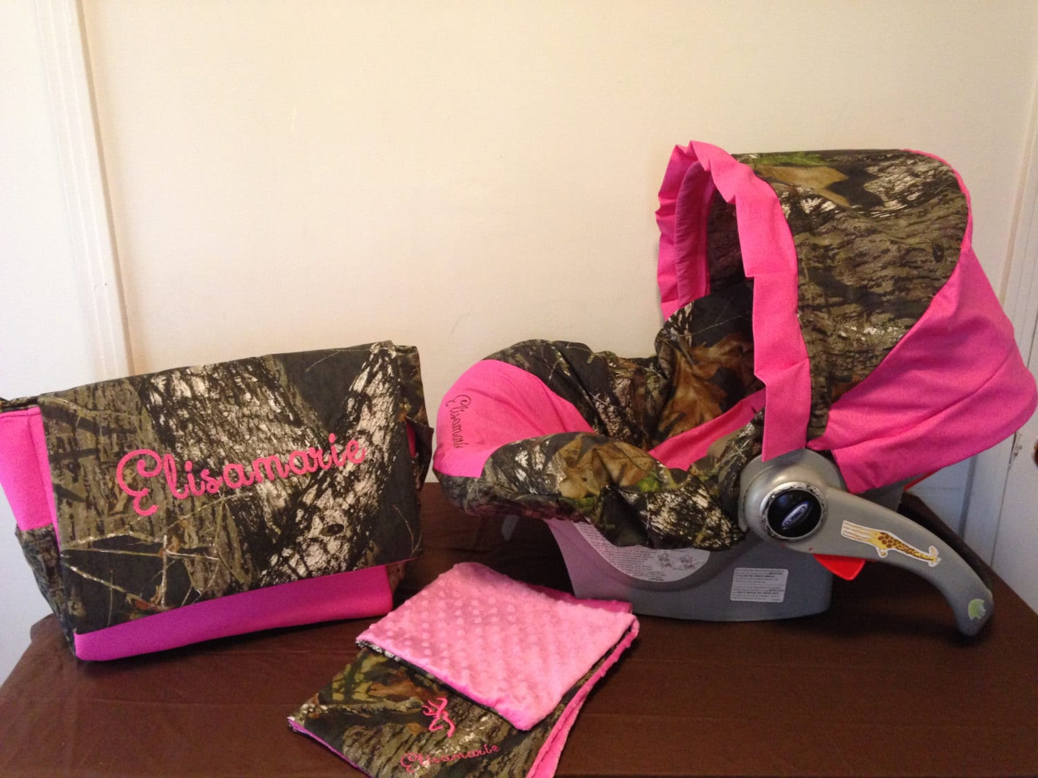 3 Piece Set Mossy Oak Camo Fabric Infant Car Seat Cover With