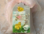 Easter Lavender Sachet / Easter Greeting on Linen Bag Sachet / Lavender