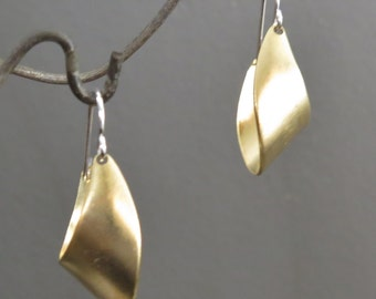 Modern, Classic, & Simple Brass and Sterling Silver Hoop Earrings, Small