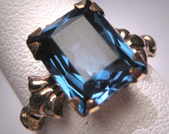 Antique Sapphire Paste Ring Vintage Art Deco Wedding