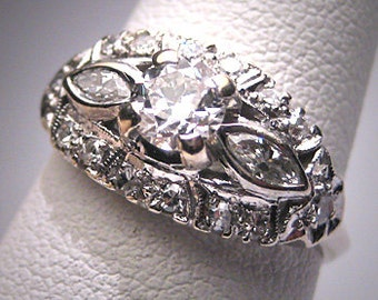 Antique Diamond Wedding Ring 1.10ct Vintage Art Deco Engagement 1920