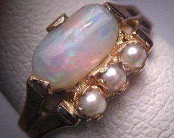 Antique Victorian Australian Opal Pearl Ring Wedding