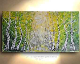 "ORIGINAL 72"" Painting Large Green Birch Tree Colorado Aspen Abstract Texture wall decor Artwork Fine art canvas by OTO"