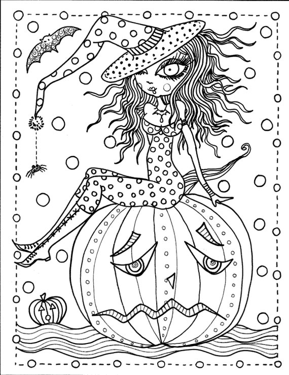 Instant Download Halloween Coloring Pages Art To Color Digital Digi Stamp Witch Cat Moon Fall