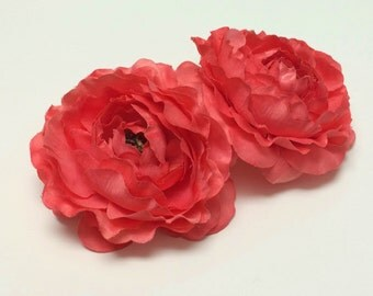 2 CORAL Ruffle Ranunculus - 4 Inches - BUDGET QUALITY Artificial Flowers, Silk Flowers