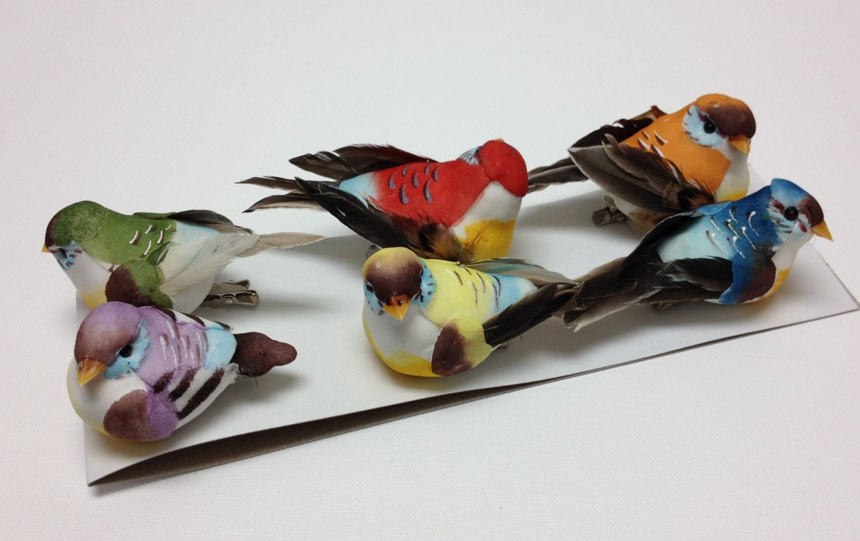 Artificial birds six decorative mushroom birds on clips in for Artificial birds for decoration
