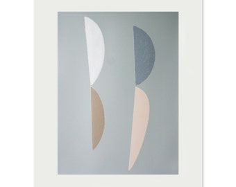 Mid Century Modern, Large handmade abstract screenprint, blue, brown, white and dusky pink based on seeds by Emma Lawrenson.
