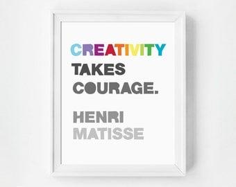 Playroom Art Print, Creativity Takes Courage, Inspirational Wall Art, Quote Print, Nursery Decor, Wall Art Prints, Kid's Room Wall Art